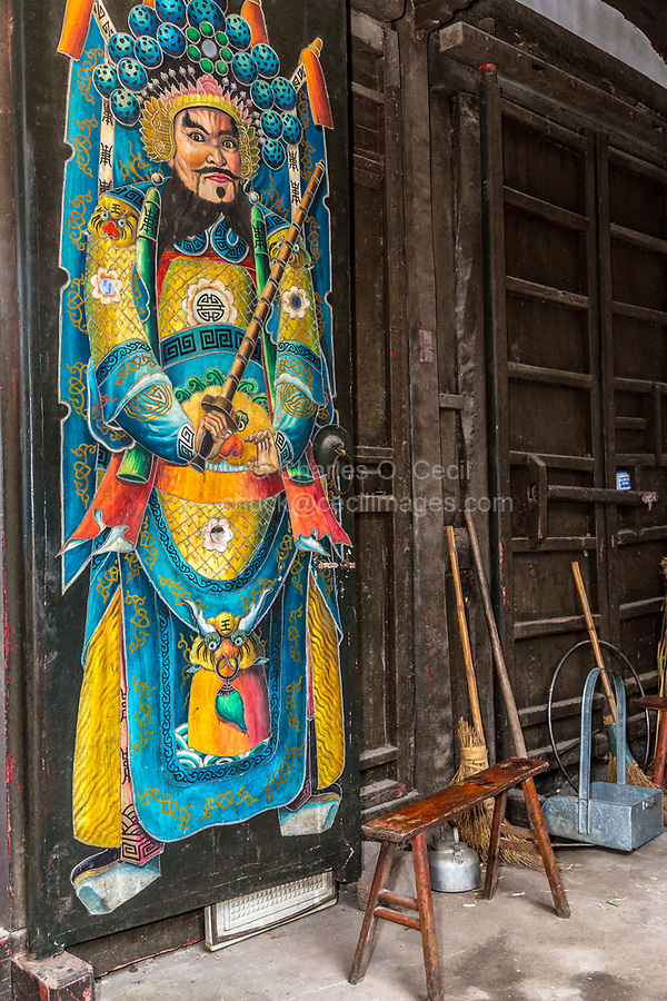 Yongjia, Zhejiang, China.  Chinese Door God Yuchi Gong (Yuchi Jingde) in a Buddhist Temple.