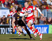 Mike Tindall breaks through the Wasps defence. Guinness Premiership match between London Wasps and Gloucester on March 7, 2010 at Adams Park in High Wycombe, England. [Mandatory Credit: Patrick Khachfe/Onside Images]
