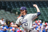 New Orleans Zephyrs pitcher Brian Flynn (43) pitches during the Pacific League game at the Chickasaw Bricktown Ballpark against the Oklahoma City RedHawks on April 13, 2014 in Oklahoma City, Oklahoma.  The RedHawks defeated the Zephyrs 4-3.  (William Purnell/Four Seam Images)