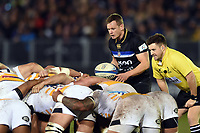 Max Green of Bath Rugby looks to put the ball into a scrum. Heineken Champions Cup match, between Bath Rugby and Wasps on January 12, 2019 at the Recreation Ground in Bath, England. Photo by: Patrick Khachfe / Onside Images