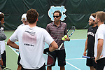 CHAPEL HILL, NC - MAY 13: South Carolina head coach Josh Goffi talks to his players. The University of North Carolina Tar Heels hosted the University of South Carolina Gamecocks on May 13, 2017, at The Cone-Kenfield Tennis Center in Chapel Hill, NC in an NCAA Division I Men's College Tennis Tournament second round match. UNC won 4-1.