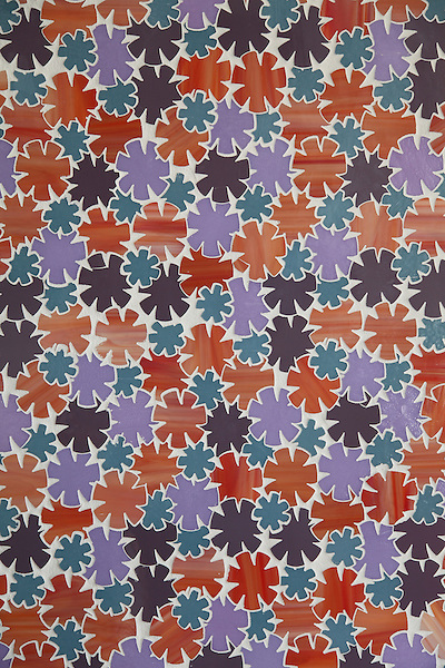 Flowers, a glass waterjet mosaic shown in Sonia, Rolly, Sardonyx and Alexander, is part of the Erin Adams Collection for New Ravenna.