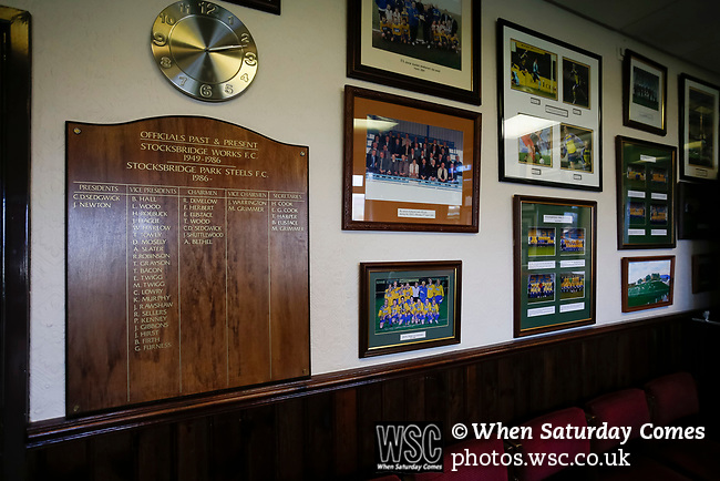 Team pictures and a board listing past officials in the Directors Lounge at the Look Local Stadium. Stocksbridge Park Steels v Pickering Town, Evo-Stik East Division, 17th November 2018. Stocksbridge Park Steels were born from the works team of the local British Steel plant that dominates the town north of Sheffield.<br />
