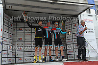 """Race winner Tom Stewart (c) and Erick Rowsell (r) both of the Madison Genesis racing team and Christopher Lawless(L) of racing team JLT Condor on the rostrum after competing in  the Abergavenny Festival of Cycling """"Grand Prix of Wales"""" race on Sunday 17th 2016<br /> <br /> <br /> Jeff Thomas Photography -  www.jaypics.photoshelter.com - <br /> e-mail swansea1001@hotmail.co.uk -<br /> Mob: 07837 386244 -"""