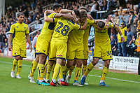 Agon Mehmeti of Oxford United (28) celebrates after he scores his team's fourth goal of the game to make the score 1-4 during the Sky Bet League 1 match between Peterborough and Oxford United at the ABAX Stadium, London Road, Peterborough, England on 30 September 2017. Photo by David Horn.
