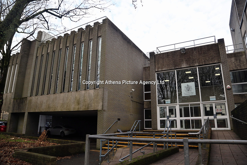 """Pictured: Llanelli Magistrates Court, Wales, UK. Wednesday 15 November 2017<br />Re: Two teenage females have been charged in connection with a fire at a council building in Llaneli, west Wales.<br />Police said the fire at the rear of Ty Elwyn in on Tuesday is """"believed to have been started deliberately"""".<br />The females, aged 18, and 16, have been charged with intent to endanger life and appeared before Llanelli Magistrates' Court."""