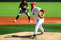 Lazaro Blanco, starting pitcher of the Alazanes of Granma Cuba, throws the ball in the first inning of the baseball game of the Caribbean Series against the Caribs of Anzo&aacute;tegui<br />