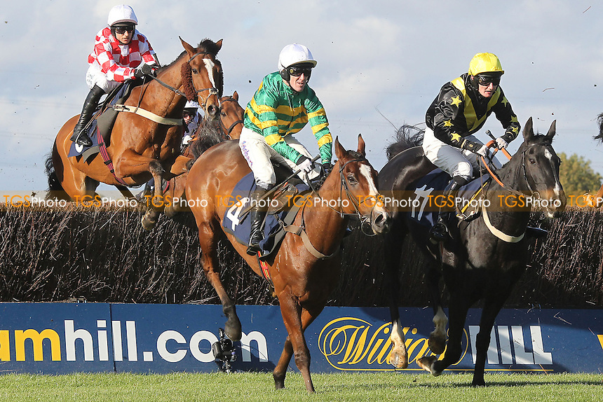 Race winner Another Trump ridden by A P McCoy (4) jumps the last during the Simplythebestevents.co.uk Handicap Chase - Horse Racing at Huntingdon Racecourse, Cambridgeshire - 16/10/12 - MANDATORY CREDIT: Gavin Ellis/TGSPHOTO - Self billing applies where appropriate - 0845 094 6026 - contact@tgsphoto.co.uk - NO UNPAID USE