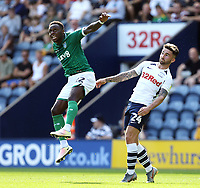 Sheffield Wednesday's Moses Odubajo vies for possession with Preston North End's Sean Maguire<br /> <br /> Photographer Rich Linley/CameraSport<br /> <br /> The Premier League - Preston North End v Sheffield Wednesday - Saturday August 24th 2019 - Deepdale Stadium - Preston<br /> <br /> World Copyright © 2019 CameraSport. All rights reserved. 43 Linden Ave. Countesthorpe. Leicester. England. LE8 5PG - Tel: +44 (0) 116 277 4147 - admin@camerasport.com - www.camerasport.com