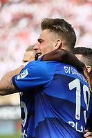 celebrate the goal, Torjubel zum 1:0 von Felix Platte (SV Darmstadt 98) mit Jerome Gondorf (SV Darmstadt 98) und Mario Vrancic (SV Darmstadt 98) - 29.04.2017: SV Darmstadt 98 vs. SC Freiburg, Johnny Heimes Stadion am Boellenfalltor