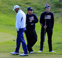 Thomas Bjorn (EUR) with Patrick Reed and Jordan Spieth (USA)  on the 4th during the Saturday Fourball Matches of the Ryder Cup at Gleneagles Golf Club on Saturday 27th September 2014.<br /> Picture:  Thos Caffrey / www.golffile.ie