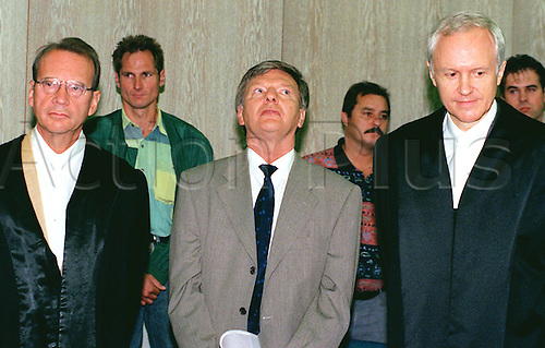 1995  Peter Graf, father of the well-known tennis player Steffi Graf, stands in the regional court at the beginning of the trial against him for tax evasion in Mannheim, Germany. Next to Graf stand his attorneys Franz Salditt (R) and Kurt Himmelsbach (L). Peter Graf died from cancer on 1st  December 2013.