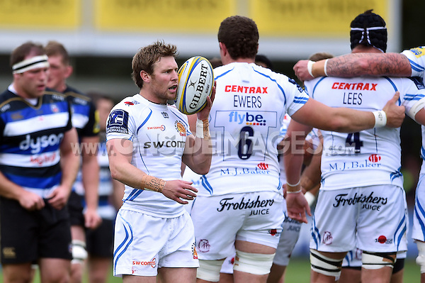 Will Chudley of Exeter Chiefs speaks to his team-mates during a break in play. Aviva Premiership match, between Bath Rugby and Exeter Chiefs on October 17, 2015 at the Recreation Ground in Bath, England. Photo by: Patrick Khachfe / Onside Images