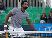June 11th 2017, Nottingham, England; ATP Aegon Nottingham Open Tennis Tournament day 2;  Takanyi Garanganga of Zimbabwe berths a sigh of relief after winning a point in his match against Luke Bainbridge of Great Britain