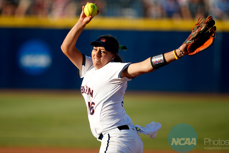 07 JUNE 2016:  Auburn starting pitcher/relief pitcher Kaylee Carlson (16) throws a pitch during the Division I Women's Softball Championship is held at ASA Hall of Fame Stadium in Oklahoma City, OK.  Shane Bevel/NCAA Photos