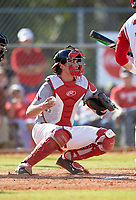 Illinois State Redbirds catcher Nick Zouras (14) during a game against the Ohio State Buckeyes on March 5, 2016 at North Charlotte Regional Park in Port Charlotte, Florida.  Illinois State defeated Ohio State 5-4.  (Mike Janes/Four Seam Images)