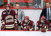 Jimmy Hayes (BC - 10), Jim Logue (BC - Assistant Coach), Barry Almeida (BC - 9), Edwin Shea (BC - 8), Greg Brown (BC - Assistant Coach) - The Boston College Eagles defeated the Harvard University Crimson 3-2 on Wednesday, December 9, 2009, at Bright Hockey Center in Cambridge, Massachusetts.