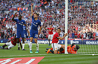Manchester United's Alexis Sanchez looks up to see his goal ruled out for offside<br /> <br /> Photographer Rob Newell/CameraSport<br /> <br /> Emirates FA Cup Final - Chelsea v Manchester United - Saturday 19th May 2018 - Wembley Stadium - London<br />  <br /> World Copyright &copy; 2018 CameraSport. All rights reserved. 43 Linden Ave. Countesthorpe. Leicester. England. LE8 5PG - Tel: +44 (0) 116 277 4147 - admin@camerasport.com - www.camerasport.com