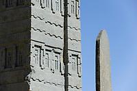 ETHIOPIA , Tigray, Axum, stelae, UNESCO world heritage site, King Ezanas Stelae / AETHIOPIEN, Tigray, Aksum, Stelen, Koenig Ezanas Stele, UNESCO Welterbe