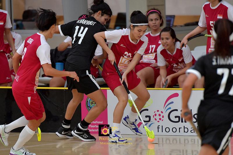Singapore's Amanda Yeap in action during the World Floorball Championships 2017 Qualification for Asia Oceania Region - Singapore v Thailand at ASB Sports Centre , Wellington, New Zealand on Sunday 5 February 2017.<br /> Photo by Masanori Udagawa<br /> www.photowellington.photoshelter.com.