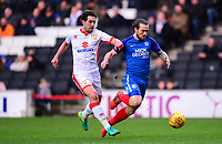 Joe Walsh of Mk Dons is shown a red card after he takes down Jack Marriot during the Sky Bet League 1 match between MK Dons and Peterborough at stadium:mk, Milton Keynes, England on 30 December 2017. Photo by Bradley Collyer / PRiME Media Images.