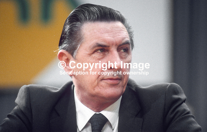 Sylvester Barrett, TD, defence spokesman, Fianna Fail, opposition party, Rep of Ireland, photographed at April 1984 Ard Fheis i.e. party conference, 19840048SB1.<br />