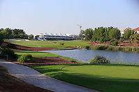 View from the 18th tee during the preview for the DP World Tour Championship at the Earth course,  Jumeirah Golf Estates in Dubai, UAE,  18/11/2015.<br /> Picture: Golffile | Thos Caffrey<br /> <br /> All photo usage must carry mandatory copyright credit (© Golffile | Thos Caffrey)