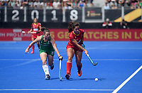 Ireland's Lizzie Colvin battles with Spain's Lola Riera<br /> <br /> Photographer Hannah Fountain/CameraSport<br /> <br /> Vitality Hockey Women's World Cup - Ireland v Spain - Saturday 4th August 2018 - Lee Valley Hockey and Tennis Centre - Stratford<br /> <br /> World Copyright &copy; 2018 CameraSport. All rights reserved. 43 Linden Ave. Countesthorpe. Leicester. England. LE8 5PG - Tel: +44 (0) 116 277 4147 - admin@camerasport.com - www.camerasport.com
