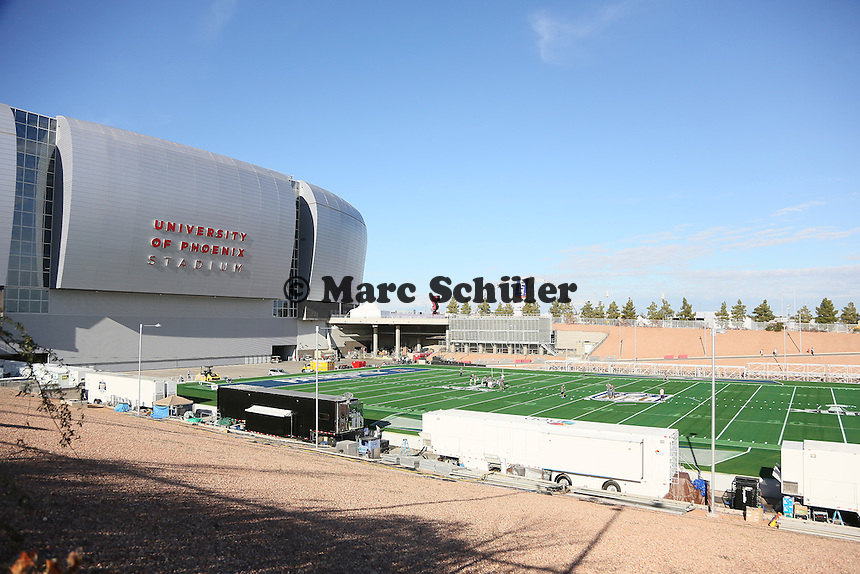 Super Bowl XLIX Spielfeld vor dem University of Phoenix Stadium