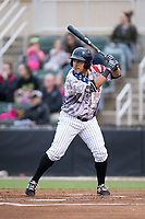 Everth Cabrera (39) of the Kannapolis Intimidators at bat against the Asheville Tourists at Kannapolis Intimidators Stadium on May 5, 2017 in Kannapolis, North Carolina.  The Tourists defeated the Intimidators 5-1.  (Brian Westerholt/Four Seam Images)
