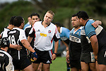 Referee Nigel Bradley discusses the finner points of scrumaging with the Te Kohanga front row. Counties Manukau Premier Club Rugby round 8 game between Te Kohanga & Weymouth, played at Te Kohanga on June 9th 2007. Weymouth led 25 - 5 at halftime & went on to win 32 - 10.