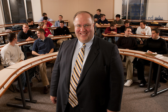 VP of Investment Scott Malpass photographed in his class in the Mendoza College of Business, 2004..Photo by Matt Cashore