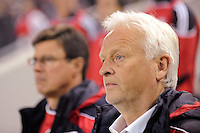 New York Red Bulls head coach Hans Backe. The New York Red Bulls defeated FC Dallas 2-1 during a Major League Soccer (MLS) match at Red Bull Arena in Harrison, NJ, on April 17, 2010.