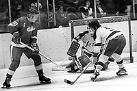 Detroit Red Wings #10 Alex Delvecchio flips puck toward Seals Rick Smith abd goalie Gilles Meloche..(1971 photo/Ron Riesterer)