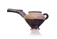 "Minoan Vasiliki Ware long spouted ""teapots"", Vasiliki 2300-1900 BC BC, Heraklion Archaeological  Museum, white background."