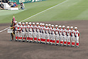 Chiben Gakuen team group,<br /> MARCH 31, 2016 - Baseball :<br /> Chiben Gakuen players line up with the championship pennant, trophy and gold medals during the closing ceremony after winning the 88th National High School Baseball Invitational Tournament final game between Takamatsu Shogyo 1-2 Chiben Gakuen at Koshien Stadium in Hyogo, Japan. (Photo by Katsuro Okazawa/AFLO)
