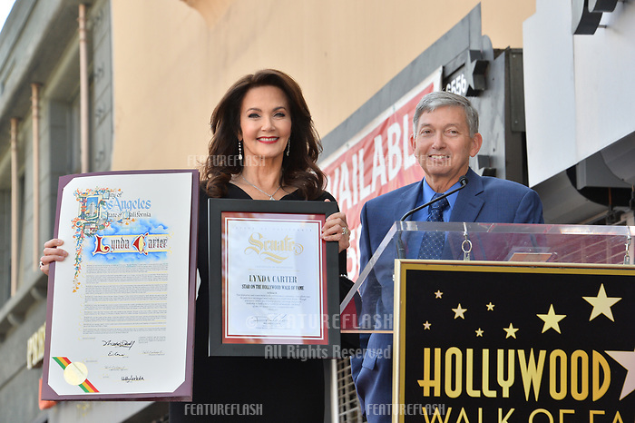 Lynda Carter &amp; Leron Gubler at the Hollywood Walk of Fame Star Ceremony honoring TV's &quot;Wonder Woman&quot; star Lynda Carter on Hollywood Boulevard, Los Angeles, USA 03 April 2018<br /> Picture: Paul Smith/Featureflash/SilverHub 0208 004 5359 sales@silverhubmedia.com