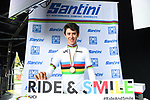 Antonio Tiberi of Italy in the rainbow jersey after winning gold at the Men Junior Individual Time Trial of the UCI World Championships 2019 running 27.6km from Harrogate to Harrogate, England. 23rd September 2019.<br /> Picture: Simon Wilkinson/SWPix.com | Cyclefile<br /> <br /> All photos usage must carry mandatory copyright credit (© Cyclefile | Simon Wilkinson/SWPix.com)
