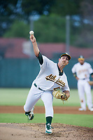 Oakland A's pitcher Daniel Mengden (47) delivers a pitch during a rehab start for the AZL Athletics against the AZL Dodgers on August 4, 2017 at Lew Wolff Training Complex in Mesa, Arizona. AZL Dodgers defeated the AZL Athletics 4-1. (Zachary Lucy/Four Seam Images)