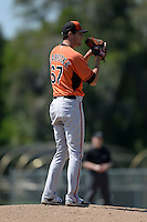 Baltimore Orioles pitcher Travis Seabrooke (67) during a minor league spring training game against the Boston Red Sox on March 18, 2015 at the Buck O'Neil Complex in Sarasota, Florida.  (Mike Janes/Four Seam Images)