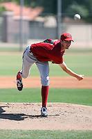 Blake Perry of the Arizona Diamondbacks pitches in an extended spring training game against the Chicago Cubs at the Cubs minor league complex on April 22, 2011  in Mesa, Arizona. .Photo by:  Bill Mitchell/Four Seam Images.