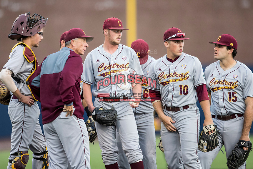 Central Michigan Chippewas (L toR) Evan Kratt (37), head coach Steve Jaska, Braxton Markle (1), Jason Sullivan (10) and Nick Stokowski (15) wait on the mound during the NCAA baseball game against the Michigan Wolverines on May 9, 2017 at Ray Fisher Stadium in Ann Arbor, Michigan. Michigan defeated Central Michigan 4-2. (Andrew Woolley/Four Seam Images)