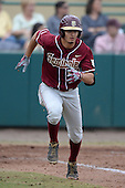 Florida State Seminoles outfielder Ben DeLuzio (21) during a game against the South Florida Bulls on March 5, 2014 at Red McEwen Field in Tampa, Florida.  Florida State defeated South Florida 4-1.  (Copyright Mike Janes Photography)