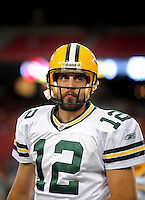 Aug. 28, 2009; Glendale, AZ, USA; Green Bay Packers quarterback Aaron Rodgers prior to the game against the Arizona Cardinals during a preseason game at University of Phoenix Stadium. Mandatory Credit: Mark J. Rebilas-