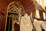 Israel, Bnei Brak. The Synagogue of the Premishlan congregation on Purim holiday, The Rabbi is leading the Priestly Blessing prayer, 2005<br />