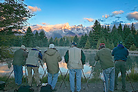 Photographers on backwater of Snake River. Grand Teton National Park, Wyoming