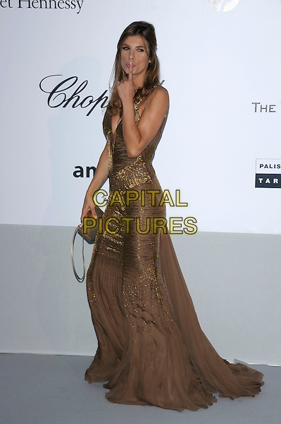 ELISABETTA CANALIS.amfAR's Cinema Against AIDS Gala during the 64th Annual Cannes Film Festival at Hotel Du Cap, Antibes, France, May 19th, 2011..full length brown dress long maxi hand finger cleavage low cut shiny bag sparkly side mouth.CAP/PL.©Phil Loftus/Capital Pictures
