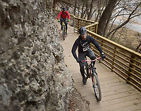 NWA Democrat-Gazette/BEN GOFF @NWABENGOFF<br /> Riders compete on Sunday Dec. 11, 2016 during the Back 40 Trail Run &amp; Ride on the Back 40 trails in Bella Vista. The event put on by the city of Bella Vista and Rush Running Company featued 10K, 20 mile and 40 mile trail runs on Saturday followed by races of the same distances on mountain bikes on Sunday.
