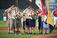 Boy scout troop presents the flag during the national anthem before a Batavia Muckdogs game against the Aberdeen Ironbirds on July 15, 2016 at Dwyer Stadium in Batavia, New York.  Aberdeen defeated Batavia 4-2. (Mike Janes/Four Seam Images)