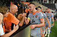 1st January 2020; Bankwest Stadium, Parramatta, New South Wales, Australia; Australian A League football, Western Sydney Wanderers versus Brisbane Roar; Tom Aldred of Brisbane Roar celebrates with fans after the game which Brisbane won 2-1 - Editorial Use